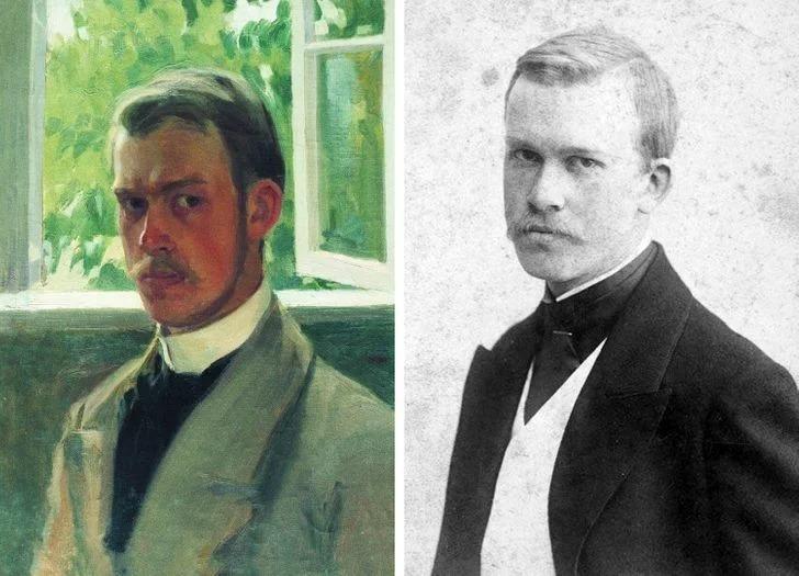 "Борис Кустодиев. ""Автопортрет у окна""."