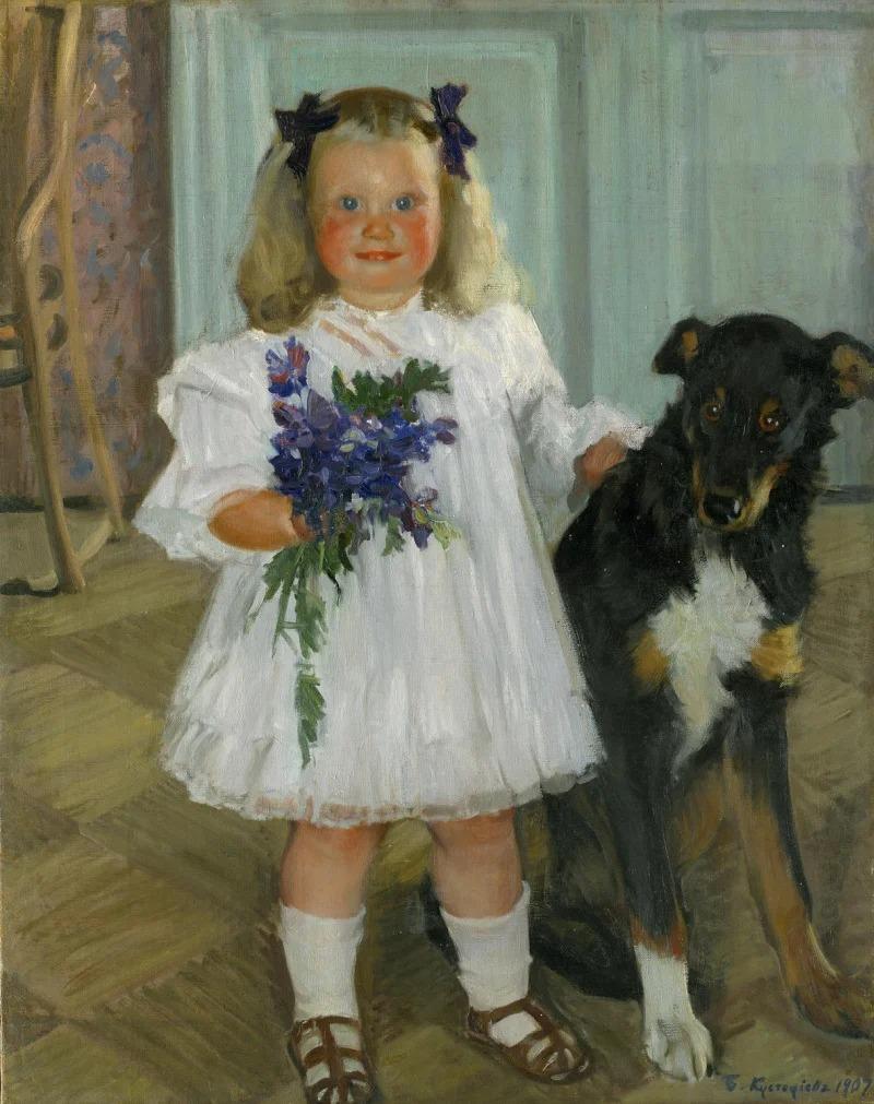 Портрет дочери Ирины с собакой Шумкой.